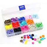 150 Sets KAM Snaps Star Shaped with Storage Box, BetterJonny 15-Colors Size 20 T5 Glossy Plastic Resin Fasteners Punch Popper