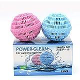 洗濯剤要らず清潔できるランドリー 洗濯ボール2個は洗浄2000回以上繰り返し可能、費用節約の上に環境にも優しい、7種類の特殊セラミックスは物理的に洗濯物を徹底的に除菌 クリーン 静電気も軽減できる経済的なせんたくボール