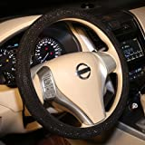 Bling Steering Wheel Cover Black for Women Car, 15 Inch Universal with Black Crystal Rhinestone Diamond Cool Bling Accessorie
