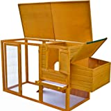 Chicken Cage with Egg Cage Patio Outdoor Pet Animal Coop House Wood Brown with Door with Tray & Ebook by ATS