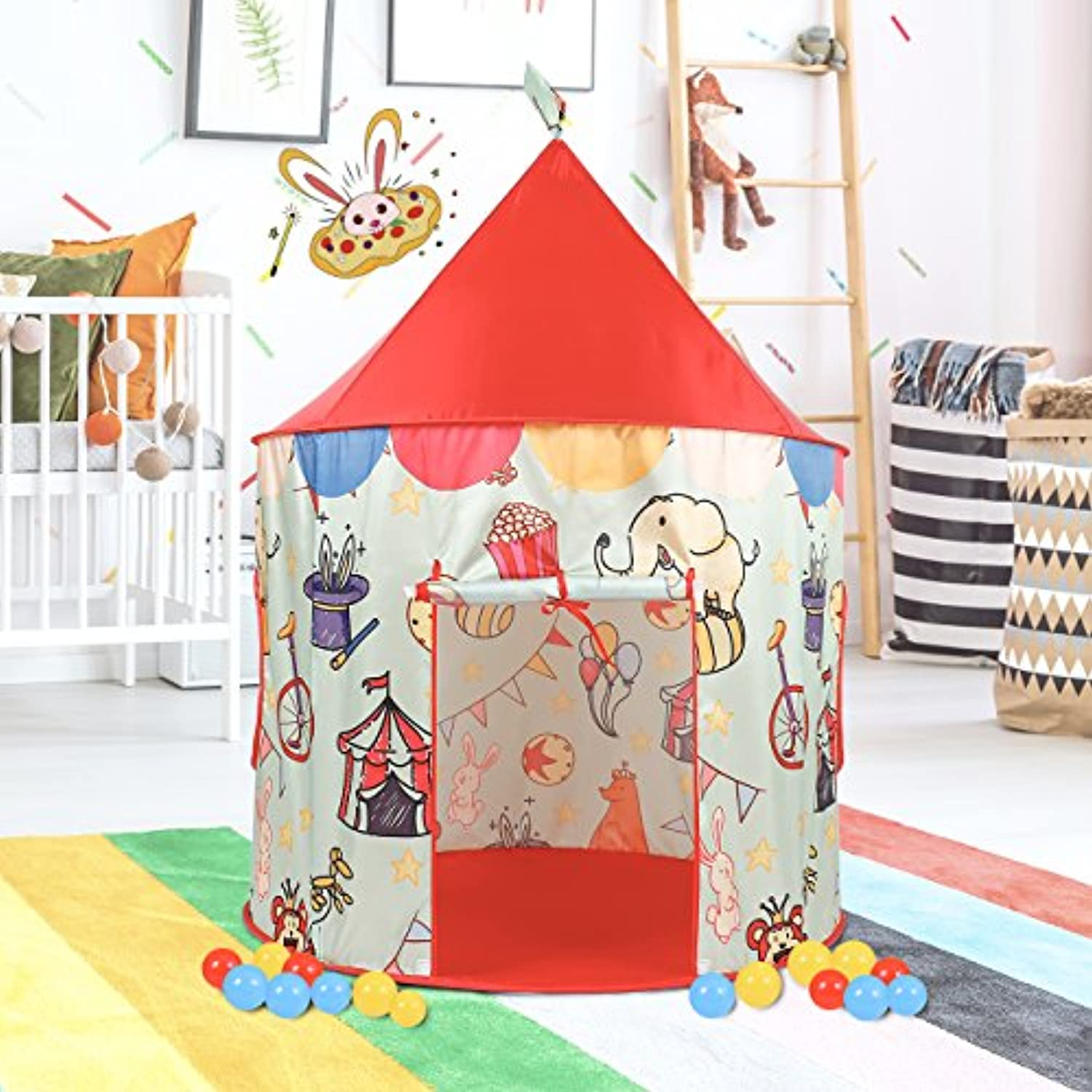 springbuds Circus子再生テント、Pop Up Play Tent for Kids ,ポータブルPlayhouse forインドア&アウトドア使用