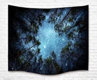 "UFRIDAY Beautiful Night Sky Wall Tapestry, Tree of Life Mystical Forest Starry Printed Wall Hanging, Bedroom Living Room Dorm, Blue (60"" x 51"") [並行輸入品]"