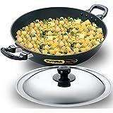 Futura Q 57 Non-Stick Deep-Fry Pan(Kadhai) 4.0 Litre with Steel Lid, 4 Liter, Gray