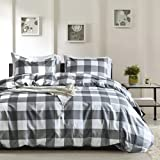 Fire Kirin White and Grey Gird Duvet Cover Set Queen Size with Zipper Closure, 3 Pieces (1 Duvet Cover + 2 Pillowcases) Plaid