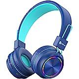iClever 子供ヘッドホン ワイヤレス 折りたたみ式 bluetooth5.0 マイク付き 耐久性あり 無線有線両用 LED ライトあり ワイヤードヘッドフォン 25hプレイタイム 音量制限94dB 3.5mmオーディオジャック ステレオサウンド