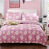 silipa 布団カバー 3点セット 綿100% 掛け布団カバー  フラットシーツ ピロケース 洋式 寝やすい (ピンク花)