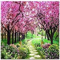 Mrlwy さくらの森の庭のパスの風景画の壁の壁画の壁紙-350X250CM
