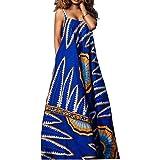 VERWIN Sleeveless Floor-Length Print Pullover Women's Maxi Dress Strap Fashion Beach Dress M