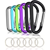 """3"""" Aluminum Carabiner Keychain Clip with Keyring, Light Durable Round Shape Nonlocking Caribeaner Hook Buckle for Outdoor Cam"""