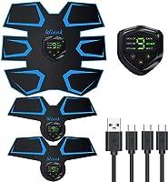 Winnk 腹筋ベルト EMS 腹筋 腹筋マシーン EMS 腹筋パッド 背筋 腕筋 ダイエット USB充電式 9段階 6つモード 液晶表示 予備用のジェルシート10枚追加 男女兼用 日本語説明書「1年間保証」