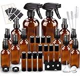 Glass Spray Bottles Kits, BonyTek Empty 12 10 ml Roller Bottles, 12 Amber Essential Oil Bottle(216oz,24oz,82oz) with Labels f