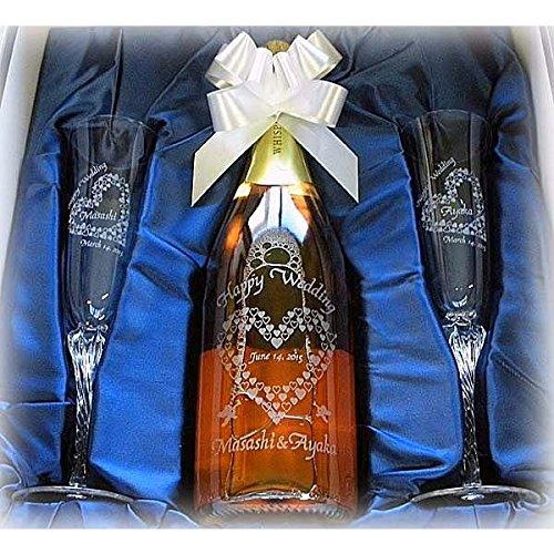 名入れ スパークリングワインW&名入れペア シャンパン グラスAセット(結婚記念日 誕生日 プレゼント ウィスパーズ ピンク モスカート750ml)