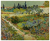 Garden with Flowers by Van Gogh。100 %ハンドペイント。Oil onキャンバス。Reproduction。(額無しUnstretched。 40x33