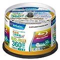 三菱化学メディア Verbatim 録画用BD-R DL 日本製 360分 1-4倍速 50枚 IJプリンタ(ホワイト) / ワイド印刷エリア対応 VBR260YP50V1