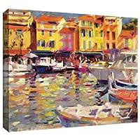 アートウォール 'Harbour at Cassis' ギャラリー-ラップキャンバスアートワーク Peter Graham作 26 x 32インチ
