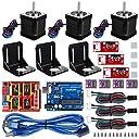 Kuman 3Dプリンター セット Arduinoに交換 CNCキット Arduino UNO R3ボード CNCシールドV3 A4988ドライバ ヒートシンク Nema17ステッピングモータ 機械的スイッチEndstop GRBL 0.9交換 実験用 電作キット KB02