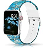 Sunnywoo Floral Bands Compatible with Apple Watch Band 38mm/40mm/42mm/44mm, Soft Silicone Fadeless Pattern Printed Replacemen
