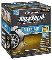 ラストオレウム299744Rocksolidメタリックガレージ床、コーティングゴールド光沢