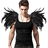 L'vow Men' Gothic Natural Real Feather Epaulet Shrug Shoulder Strap for Halloween Pack of 2