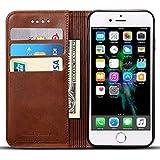 iPhone6/6S/7レザーケース アイフォンケース 手帳型財布型 保護ケース 耐衝撃カバー カード入れ 耐摩擦  耐汚れ 全面保護 プレゼントに最適 (iphone7, 1-Brown)