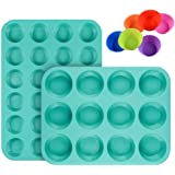 Silicone Muffin Pan Cupcake Set - Mini 24 Cups and Regular 12 Cups Muffin Tin, Nonstick BPA Free Food Grade Silicone Molds wi