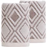 Pidada Hand Towels Set of 2 100% Cotton Diamond Pattern Highly Absorbent Soft Towel for Bathroom 13 x 29.5 Inch (Beige)