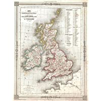 【地図】アレクサンドル?ヴエミンによる 1852年頃のイギリス諸島地図  アートプリントポスター  ATTRACTIVE 1852 MAP THE BRITISH ISLES BY VUILLEMIN 2964PYLV