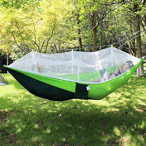 アウトドア 蚊帳付きハンモック パラシュート 野外 虫よけ 軽量 ◇A001-210T (グリーン&ダークグリーン)