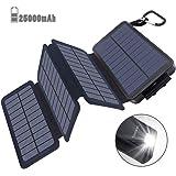 モバイルバッテリー ソーラーチャージャー 25000mAh 大容量 急速充電 PSE認証済 2USB出力ポート LEDランプ ソーラー 充電器 太陽能チャージャー