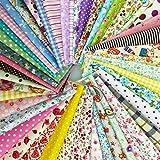 綿 プリント生地 四角形シリーズ 50枚セット DIY縫う手作りの布地 8×8インチ 20×20㎝