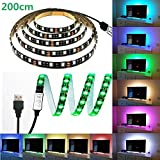 LED テープライト、LHYAN 2M LEDテレビバックライトキット、USB SMD5050 RGB LEDテープ 高輝度 高品質 防水 LEDテープライト DC/5V 両面テープ 間接照明 正面発光 ledイルミネーション (200CM)