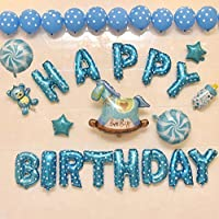誕生日 装飾セット パーティ HAPPY BIRTHDAY 文字 巨大な風船 馬さん (ブルー)