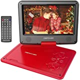 DBPOWER 9.5-Inch Portable DVD Player with Rechargeable Battery, SD Card Slot and USB Port - Red