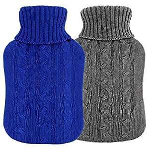 湯たんぽ ゆたんぽ 温水ボトル 注水式 温水バッグ 冷え対策 あったかグッズ ニット編カバー付き 2L 2個セット (グレー、濃い青)