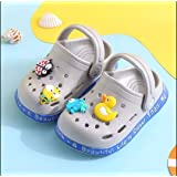 Roosee Toddler Boys and Girls Slippers Non-Slip Sole, Summer Baby Slippers (Toddler/Little Kids)(20-28 Month,Grey)