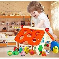 幼児期のゲーム 子供のための教育的なフルーツ認識玩具を並べ替える木の形のソーターフルーツソートボックス