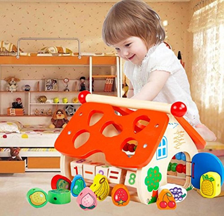 HuaQingPiJu-JP 子供のための教育的なフルーツ認識玩具を並べ替える木の形のソーターフルーツソートボックス