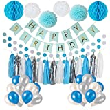 (Blue 1) - Frozen Theme White and Blue Party Decorations for girls, balloons, Pom Poms Flowers, birthday banner, paper Garland, Tassels for 1st Birthday Girl Decorations Kids Birthday by Litaus