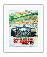 第37回モナコ・グランプリ1979 - フォーミュラワンカーレース - ビンテージな広告ポスター によって作成された アレイン ジアムパオリ c.1979 - キャンバスアート - 28cm x 36cm キャンバスアート(ロール)