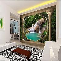 Sproud 大規模なカスタム壁紙 3D バルコニー自然の風景滝湖、モダンなヨーロッパの壁画の反響室の家の装飾 400 Cmx 280 Cm