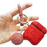 Luxurious Rhinestone AirPods Case, Protective Bling Diamonds AirPod Charging Protective Case Cover for Apple I10/I12 TWS (red