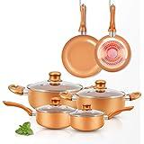 RUITEAM 10pcs Cookware Set Ceramic Nonstick Soup Pot/Milk Pot/Frying Pans Set | Copper Aluminum Pan with Lid, Induction Gas C