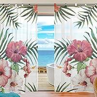 USAKI(ユサキ)高品質 おしゃれ 薄手 柔らかい シェードカーテン紗 ドアカーテン, ハワイ 熱帯シュロの葉 棕櫚葉 花,装飾 窓 部屋 玄関 ベッドルーム 客間用 遮光 カーテン (幅:140cm x丈:210cmx2枚組)