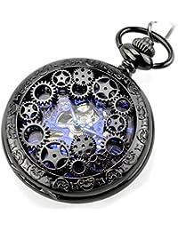 BesTn出品 懐中時計 スケルトン 男女 アンティーク 手巻 ネックレス付き やや大きい スチームパンク 時計 ブラック