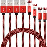 Micro USB ケーブル JOOMFEEN マイクロ usb ケーブル 高速充電ケーブル 高耐久ナイロン 急速充電アンドロイドケーブル /Samsung/Sony /Nexus/LG/Android 各種スマホ&その他USB機器対応[1M×2本、2M×1本、3m×1本]-ブラックレッド