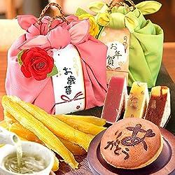 人気スイーツと和菓子のギフトセット(編み籠入り風呂敷包)