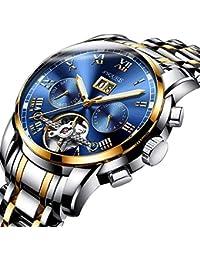 BesTn出品 腕時計 メンズ 機械式 自動巻き トゥールビョン風 1ATM生活防水 日付 曜日 透かし彫り ステンレスバンド (ゴールドシルバー)