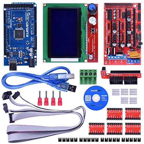 Kuman Arduinoに交換 3Dプリンタ キット RAMPS 1.4コントローラ+Arduino Mega2560 R3互換ボード+A4988 ドライバ+LCD12864 モジュール 電作キット プリンタセット 2017新版 Arduino Mega 2560 Uno R3とArduino Reprapに適用 K17