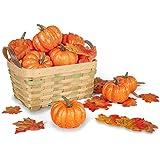 DomeStar Artificial Pumpkins for Decoration, 12PCS Mini Fake Pumpkins with 30PCS Lifelike Maple Leaves, Artificial Vegetables