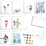 Cute Watercolor Holiday memories assortment set by Blule Box of 24 paintings Greeting Cards with Envelopes and Seal Stickers.